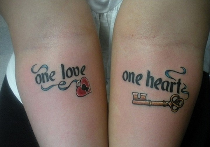 35 couple tattoos - One love, one heart couple tattoos.