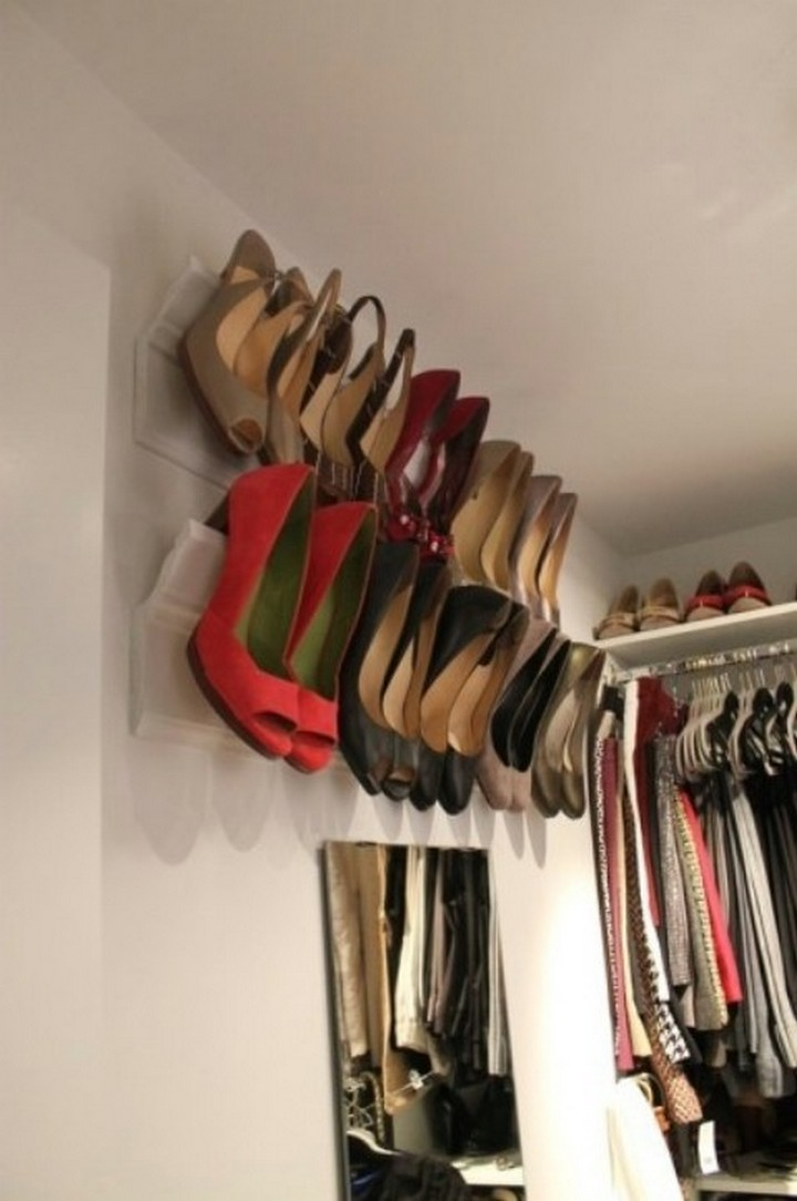 46 Useful Storage Ideas - Attach crown moldings to your wall to organize shoes.