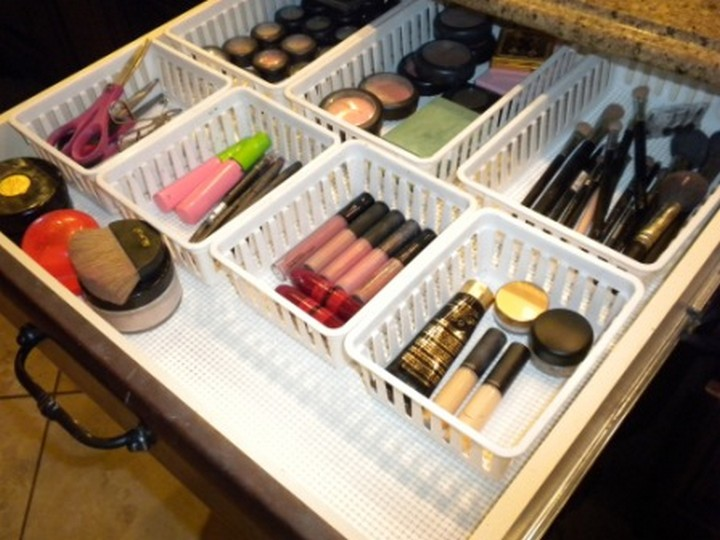 46 Useful Storage Ideas - Organize your makeup drawer with plastic trays and non-slip drawer liners.