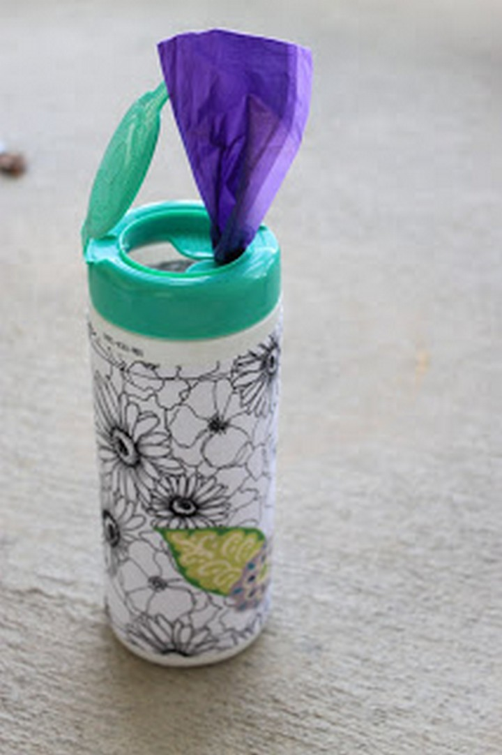 46 Useful Storage Ideas - Reuse an empty disinfecting wipes container to store any type of plastic bag.