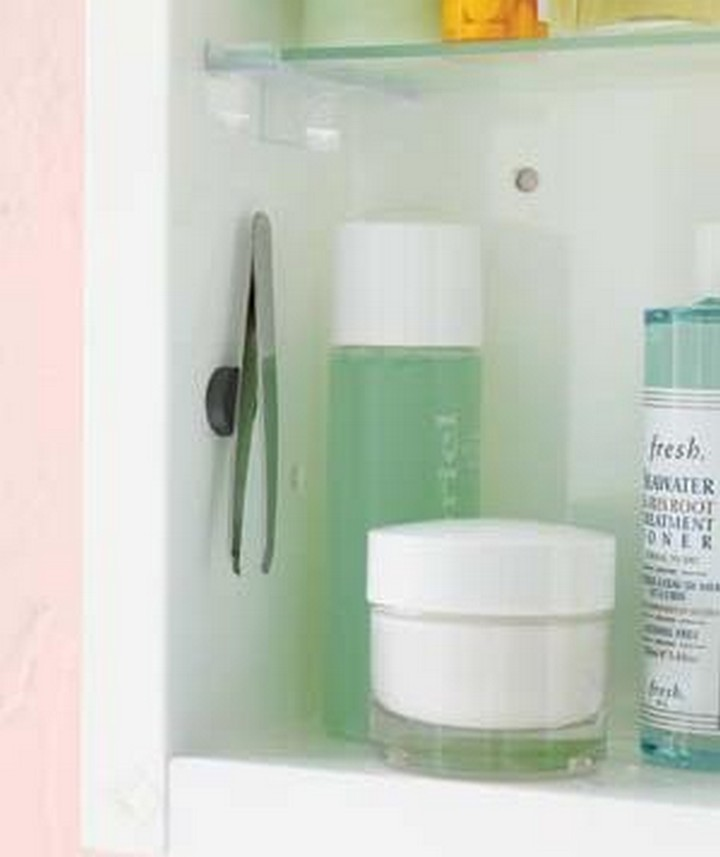 46 Useful Storage Ideas - Install a magnet for your tweezers.