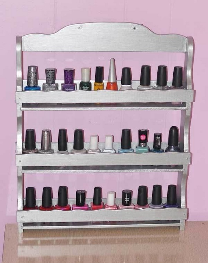 46 Useful Storage Ideas - Use an old spice rack to organize your nail polish.