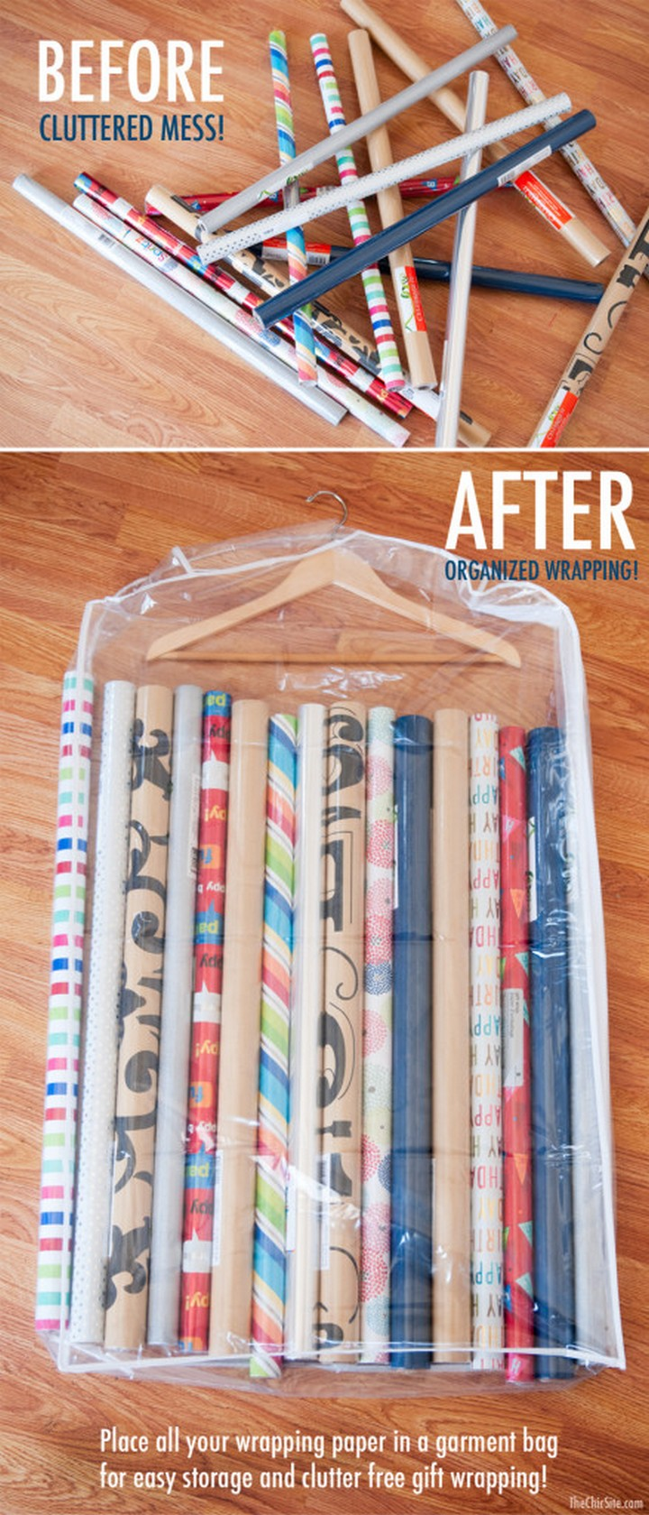 46 Useful Storage Ideas - Store all your wrapping paper in a garment bag.