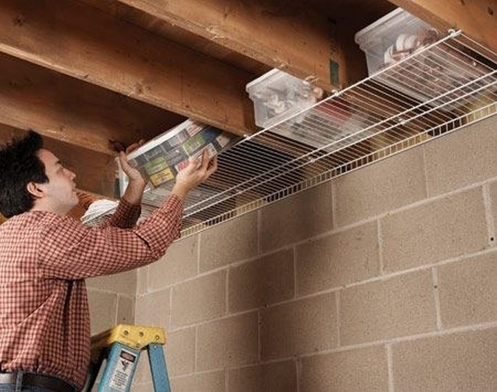 46 Useful Storage Ideas - If your basement has an unfinished ceiling, use it to your advantage and store items on wire shelves.
