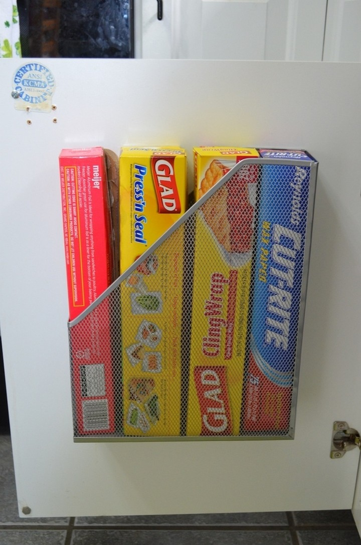 46 Useful Storage Ideas - Use old magazine racks to store foil, plastic wrap, and waxed paper.