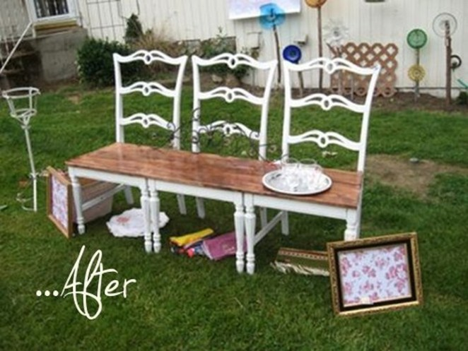 After: A beautiful garden bench with an antique walnut finish.