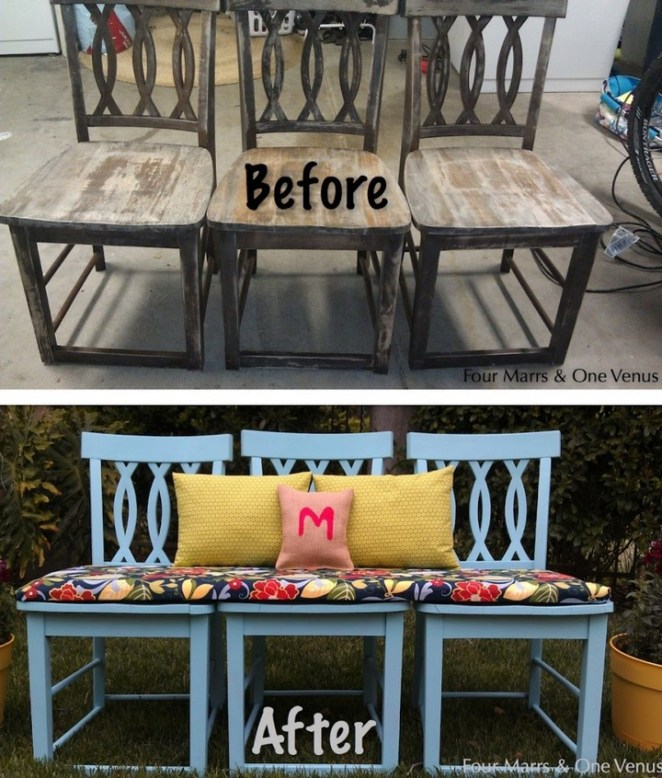 Transform a dumpy chair to benchy flair.