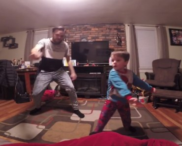 Cute Little Einstein Dance-Off Between A Dad and His Son.