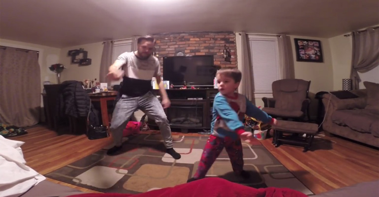 Cute Little Einsteins Dance Off Between A Dad and His Son.