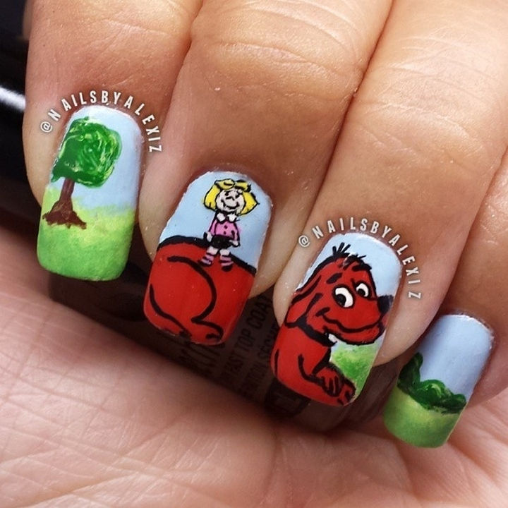 13 Book-Inspired Nail Art Designs - Clifford the Big Red Dog by Norman Bridwell