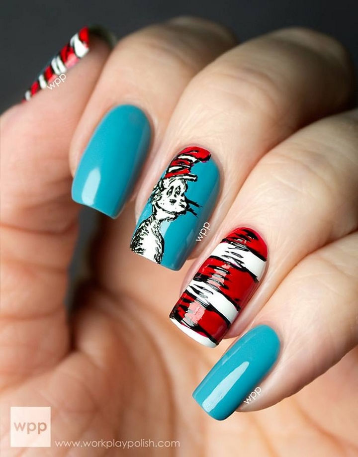 13 Book-Inspired Nail Art Designs - The Cat in the Hat by Dr. Seuss