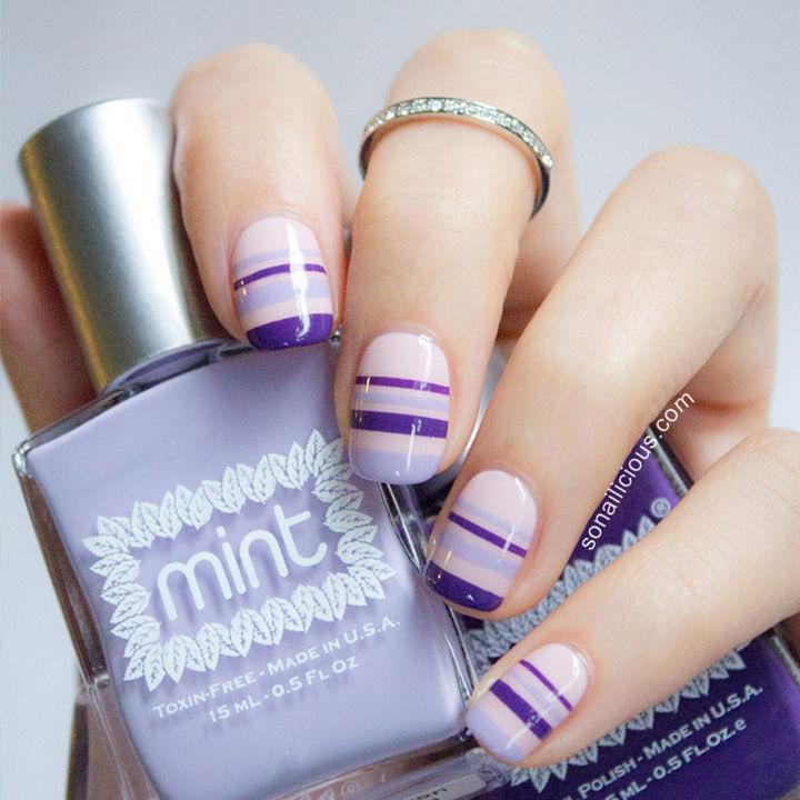 18 Striped DIY Nail Designs - Beautiful Spring stripes.