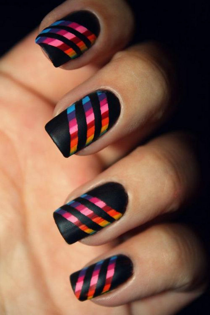 18 Striped DIY Nail Designs - All of the colors of the rainbow.