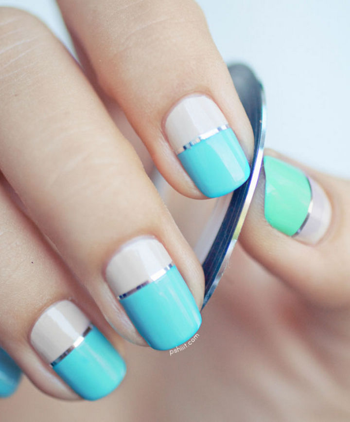 18 Striped DIY Nail Designs - Color block striped nails.