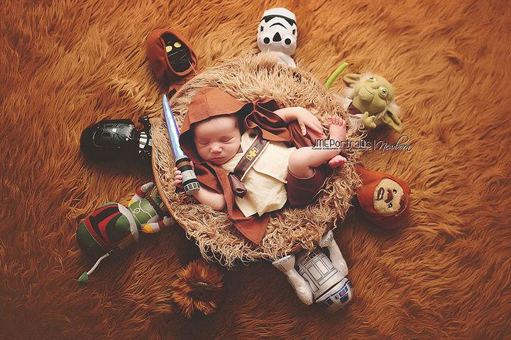 37 Newborns Wearing Geek Baby Clothes - Baby Luke Skywalker and the Star Wars Universe.