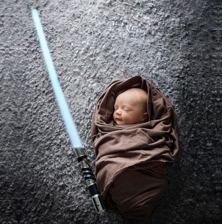 37 Newborns Wearing Geek Baby Clothes - A baby Jedi.