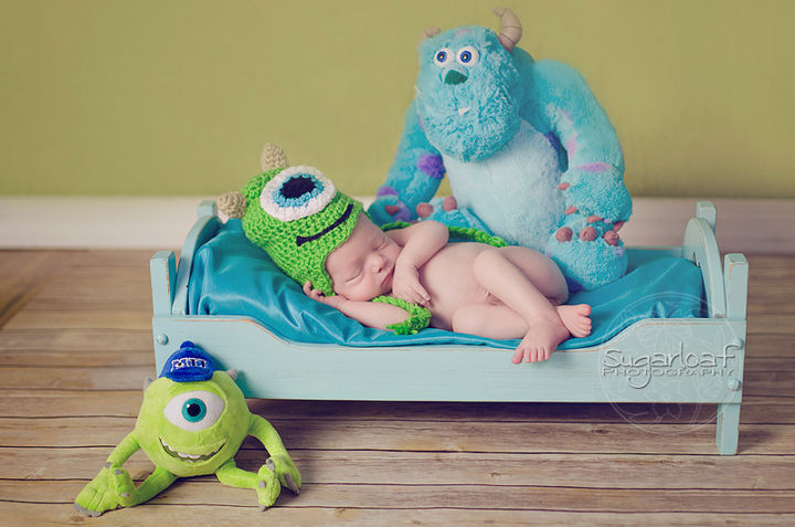 37 Newborns Wearing Geek Baby Clothes - Baby Mike Wazowski from Monsters Inc.
