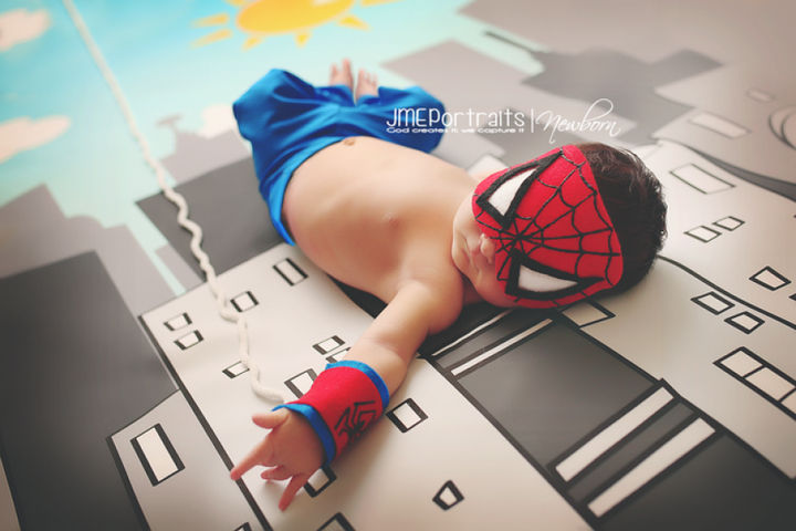 37 Newborns Wearing Geek Baby Clothes - Baby Spider-Man is one adorable tiny web-slinger.