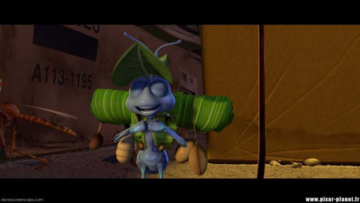 Disney and Pixar 'A113 Easter Egg - On a cardboard box in A Bug's Life.