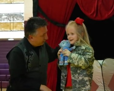 Army Parents Surprise Their Little Daughter at a Magic Show.