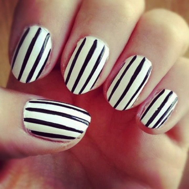 13 Black and White Nails - Vertical stripes look great too!