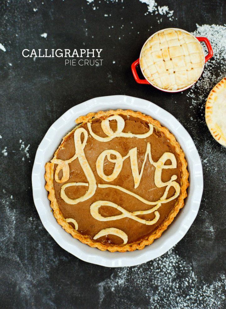 Calligraphy pie crust design.
