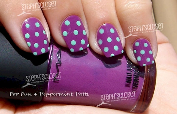 18 Purple Nail Art Designs - Mint green polka dots and this luscious shade of purple are the perfect match.