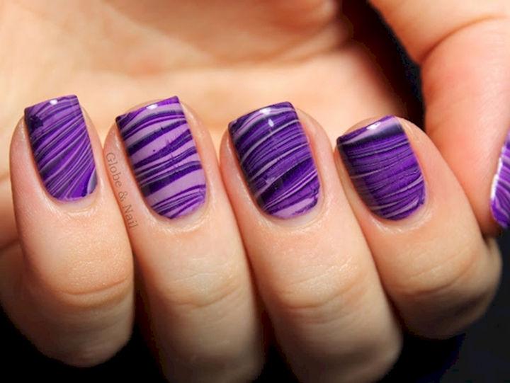 18 Purple Nail Art Designs - Purple water marble mani.
