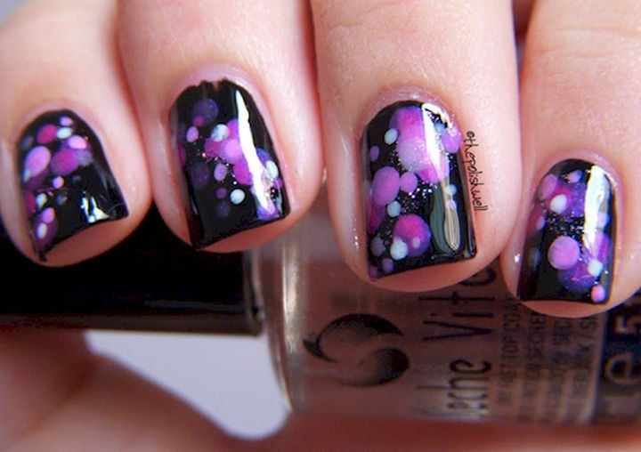 18 Purple Nail Art Designs - Fun purple and pink polka dots on black.