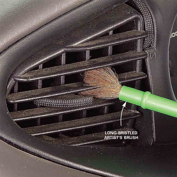 35 House Cleaning Tips - Brushing out your vehicle air vents.