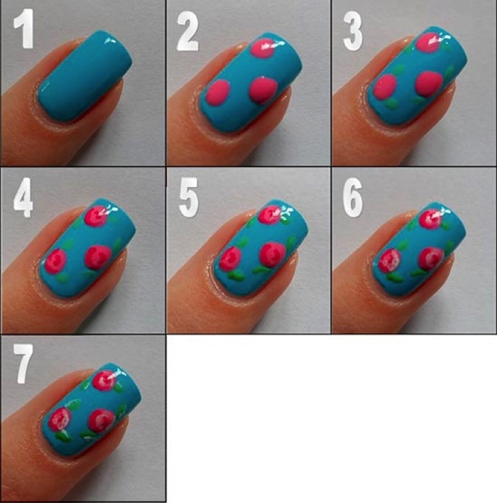 13 Easy Nail Designs - Easily turn polka dots into lovely roses.