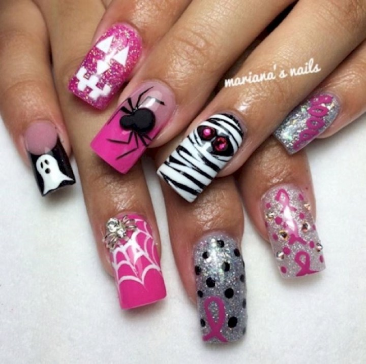 19 Breast Cancer Nails - Another awesome Halloween design.