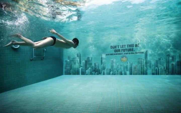 21 Creative Billboard Ads - Cities under water. Stop global warming.