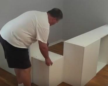 IKEA Hack DIY Platform Bed Built from IKEA Kitchen Cabinets.