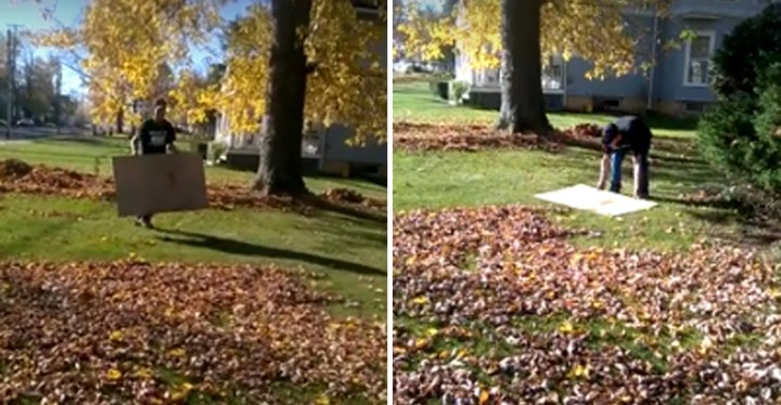 Man Raking Leaves with a Piece of Cardboard and It's Brilliant.