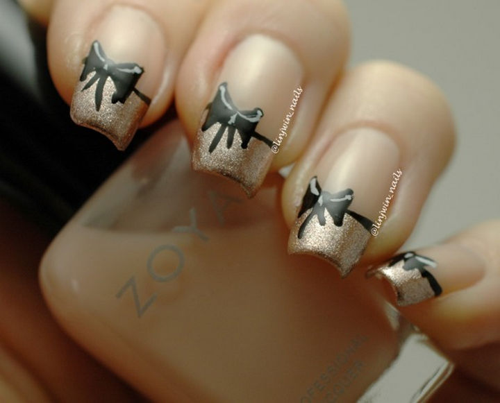 18 Perfectly Manicured Bow Nails - A simple yet elegant French manicure with bows.