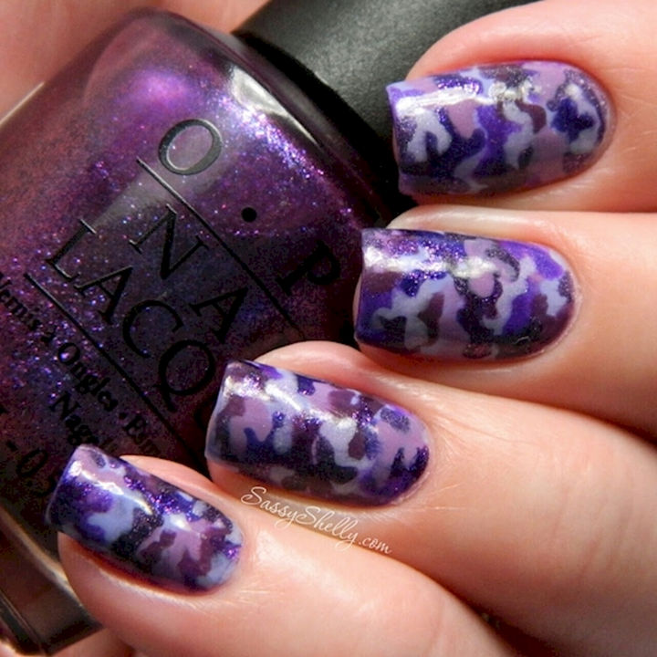 22 Purple Nail Designs - Showing support for the military with this purple camouflage nail art design.