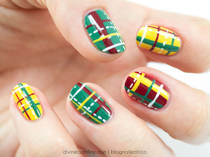 23 Christmas Nails - All the colors of Christmas in an easy plaid design.