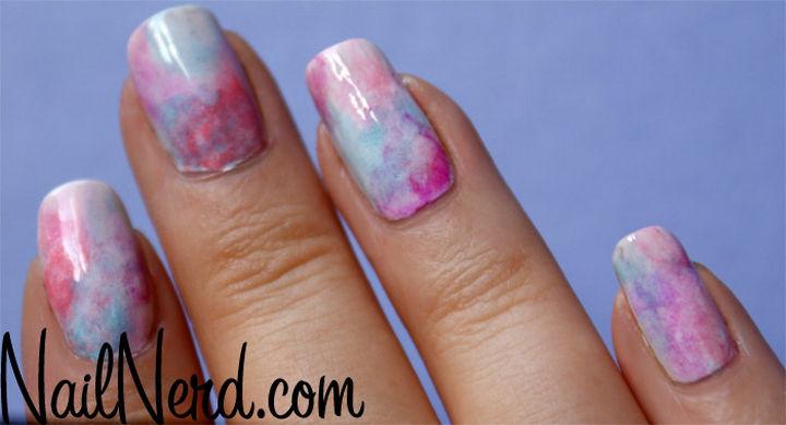 17 Cotton Candy Nails - Cotton candy sponge nails.