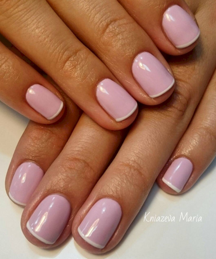 17 Rose Pink Nails - Rosy pink French manicure.