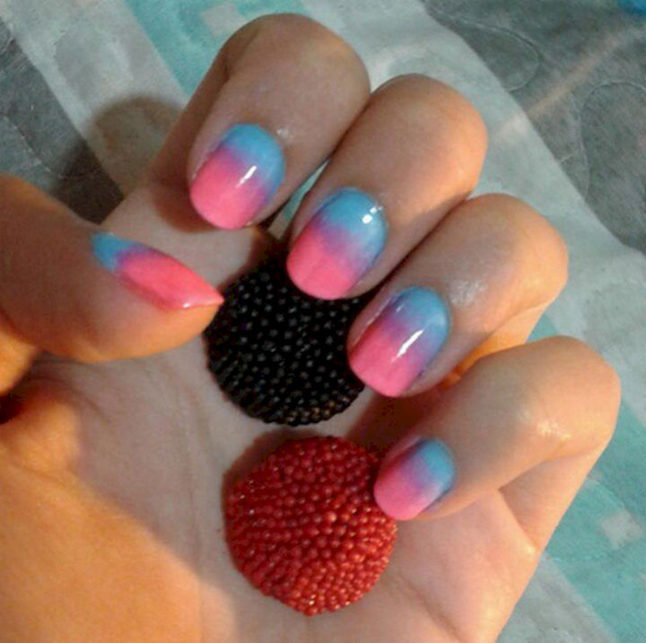 18 Ice Blue Nails - A colorful winter manicure.