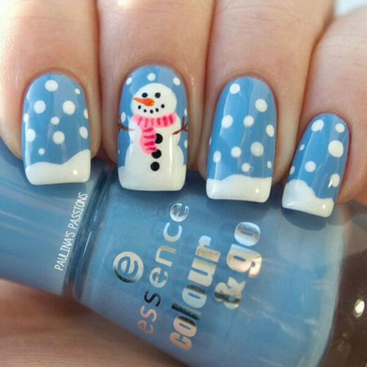 39 Winter Nails - Snowy the snowman winter nails.