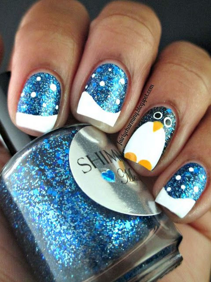 39 Winter Nails - A cute shimmering penguin.