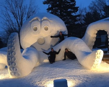 Three Brothers Created an Epic Snow Octopus in Their Front Yard.