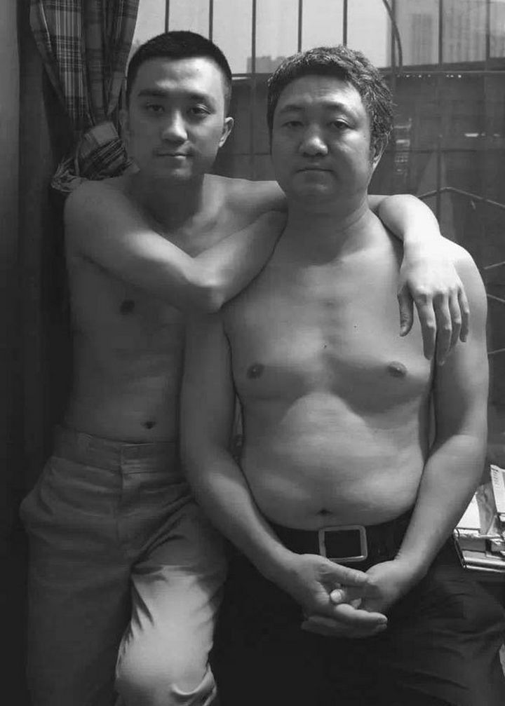 Father takes photo with his son every year. This one was taken in 2011.