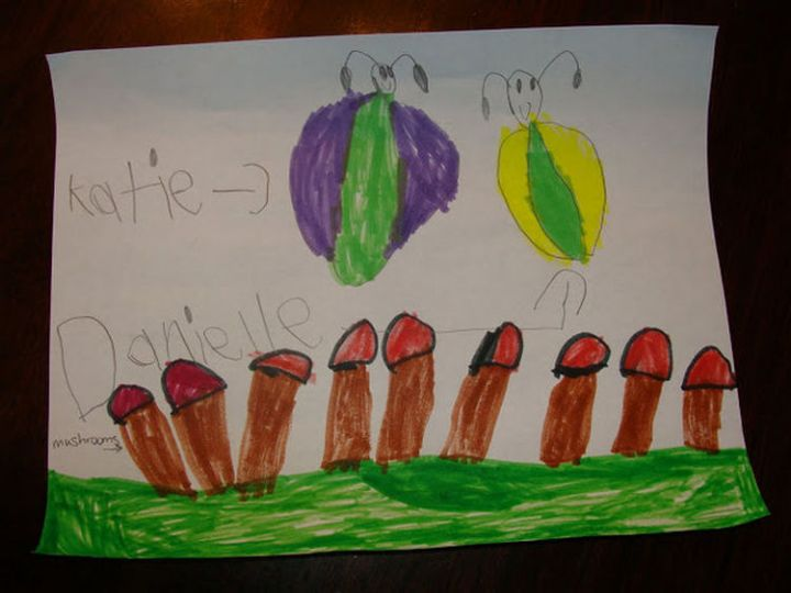 35 Funny Drawings from Kids - A field full of flowers?