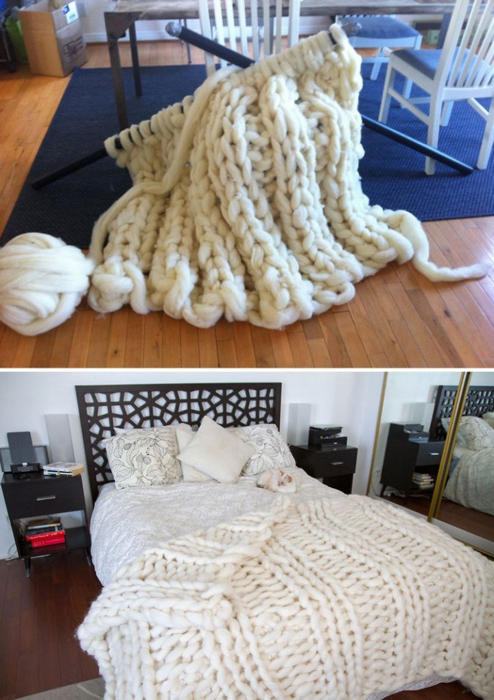 She then created her knitting needles using 1 1/2 PVC tubing and the result was exactly what she wanted. The result is a blanket with large stitches that looks super comfy and is super soft.