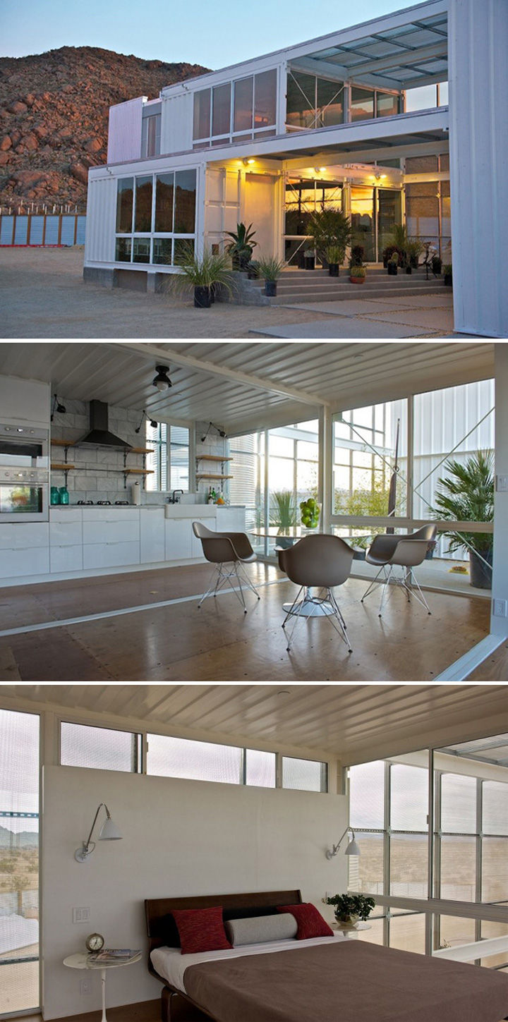 10 Gorgeous Shipping Container Homes - Built anddesigned byEctotech Design, this shipping container home in the Mojave Desert features over 2,300 square feet of living space.