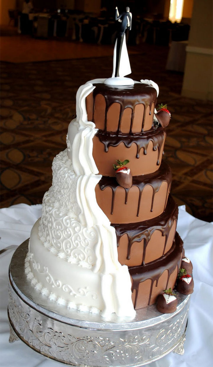 12 Creative Wedding Cake Ideas for the Bride and Groom 12 Him and Her Wedding Cake Ideas   Lovers of chocolate and vanilla  together as one