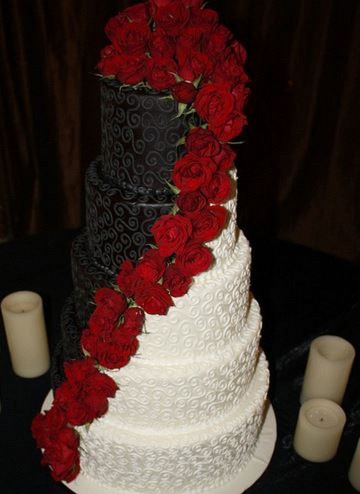 12 Him and Her Wedding Cake Ideas - Beautiful colors accented by precious roses.